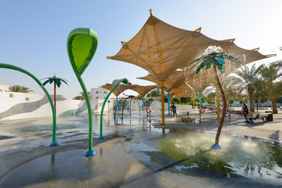 Municipal Public Abu Dhabi Municipality Khalifa City A SE02 Neighborhood Park Vortex Aquatic Play splashpad water play games KEO design