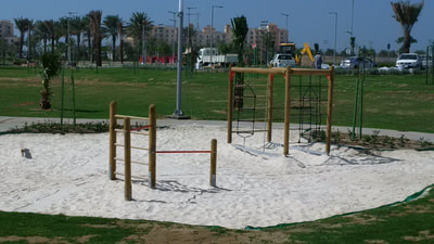 Semi Public Community Emaar Saudi Arabia Eibe wood jungle gym sport climbing frame