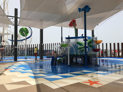 Commercial Leisure Retail Meraas The Beach Splashpad Vortex Aquatic Play LifeFloor soft surface tile chlorine-resistant and anti-skid. Cracknell design.